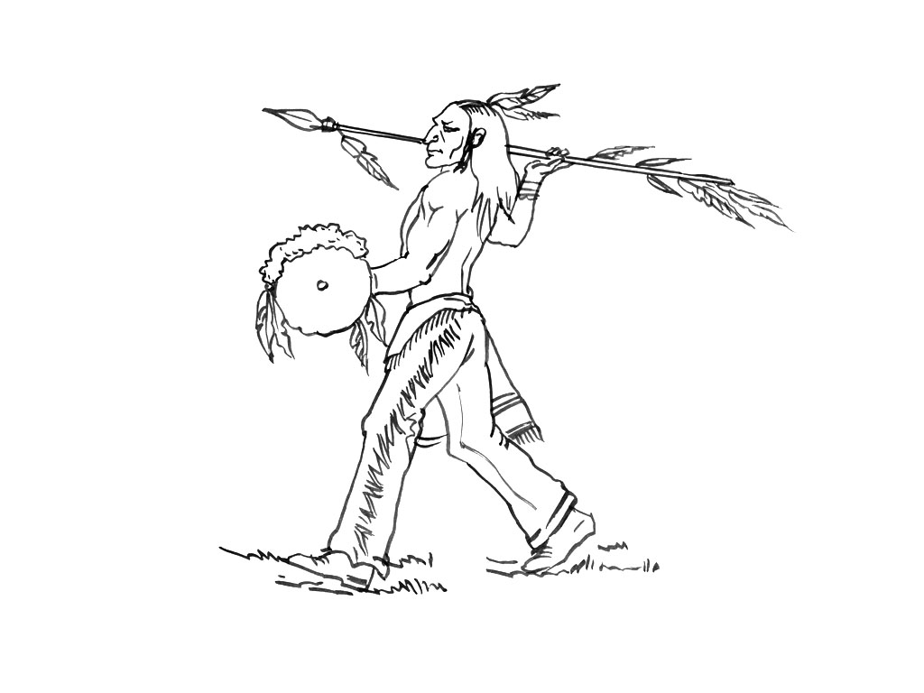 Simple Indians coloring page to download for free