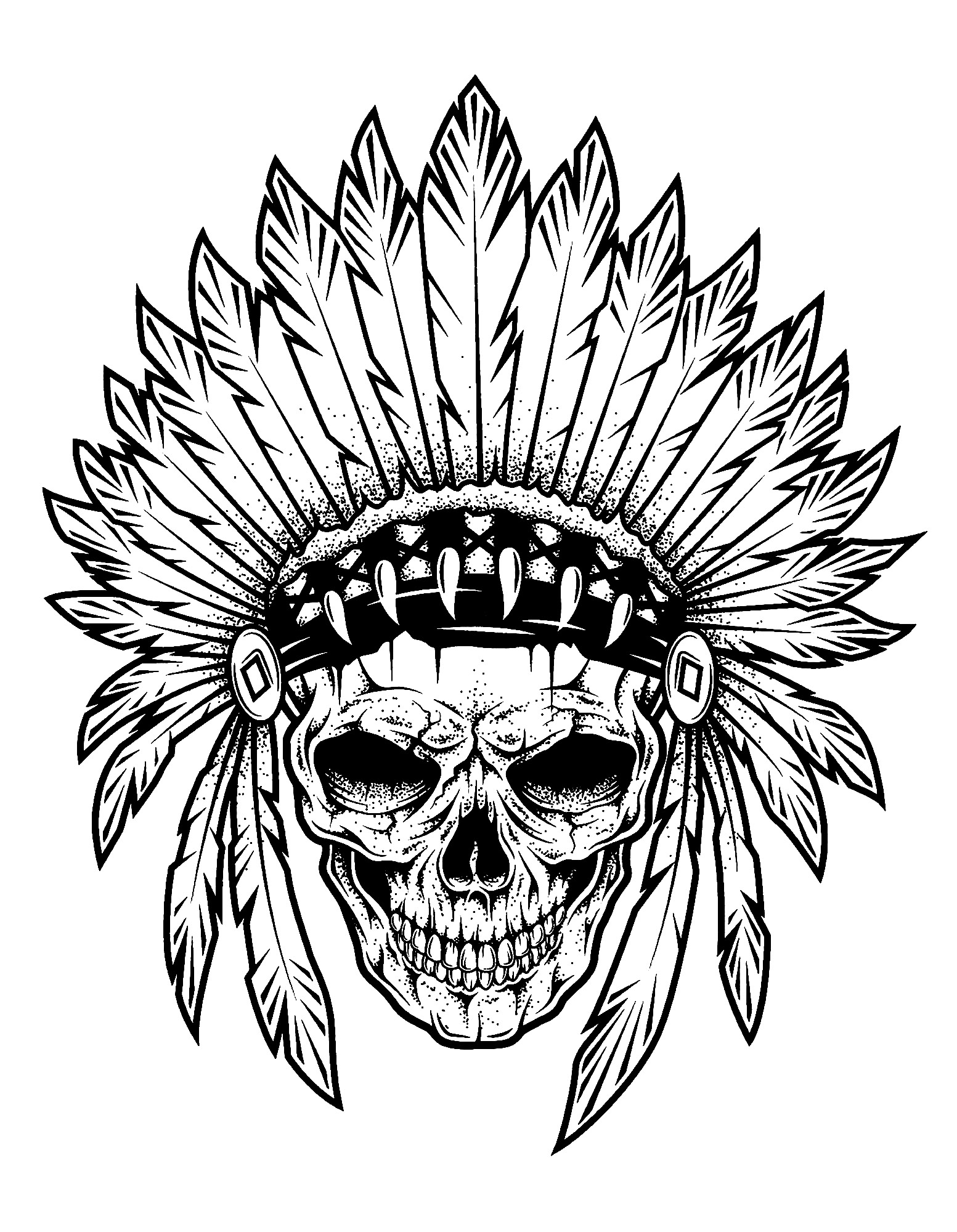 Simple Indians Coloring Page To Print And Color For Free