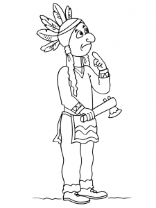 Coloring page indians for children