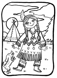 Coloring page indians free to color for children