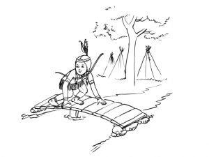 Coloring page indians to color for children