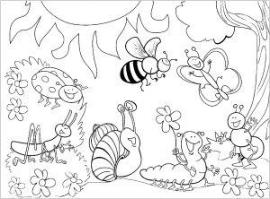 Coloring page insects for children