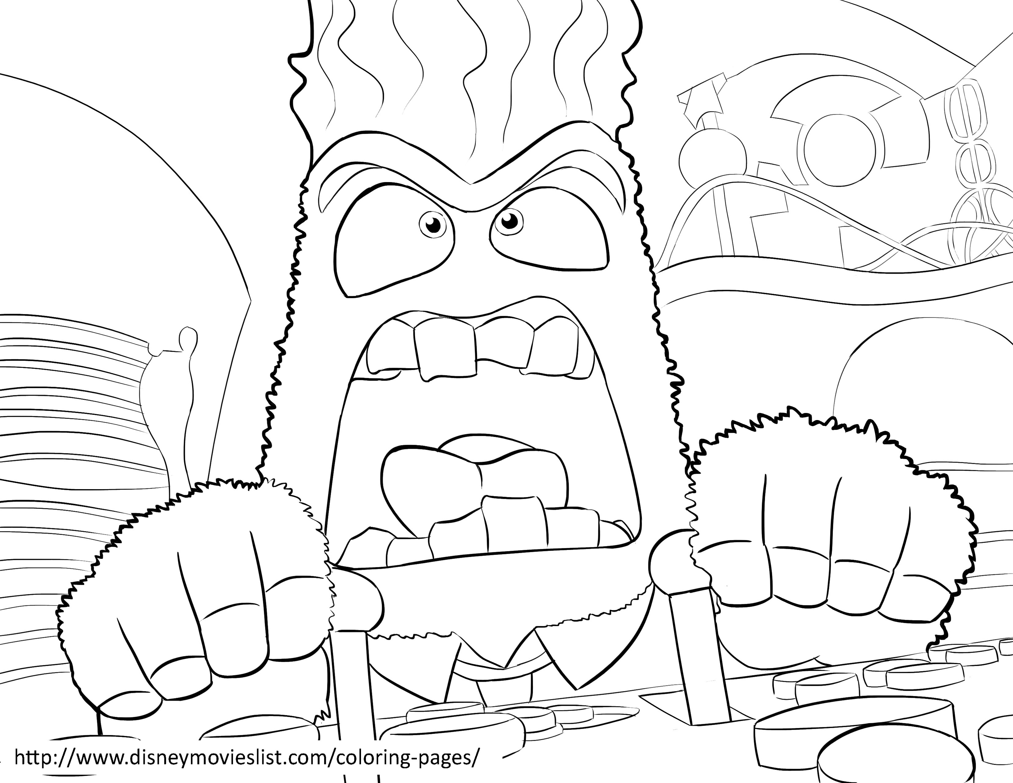 Inside Out Coloring Page With Few Details For Kids