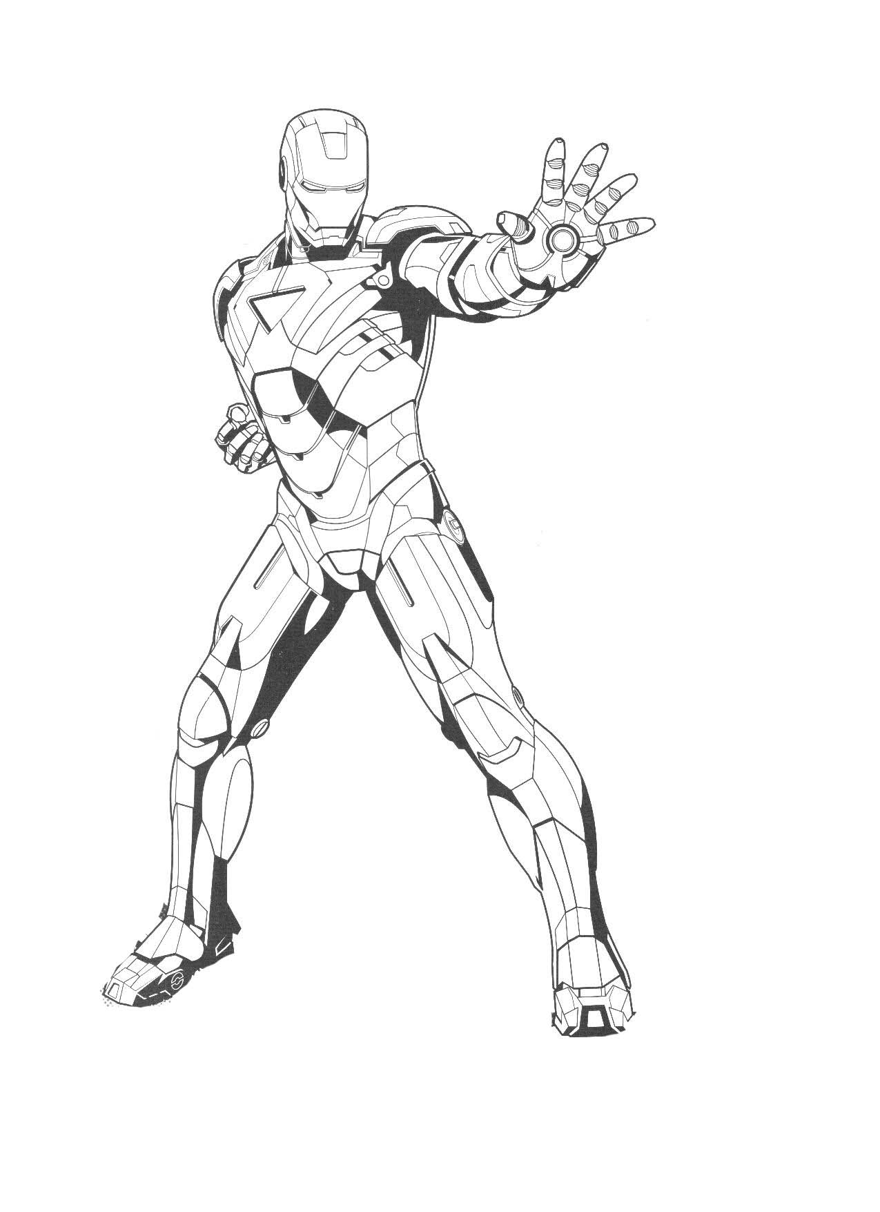 Cute free Iron Man coloring page to download