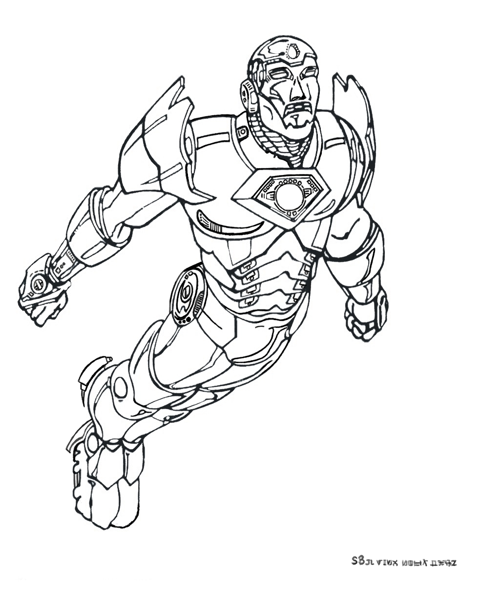 Iron Man coloring page with few details for kids