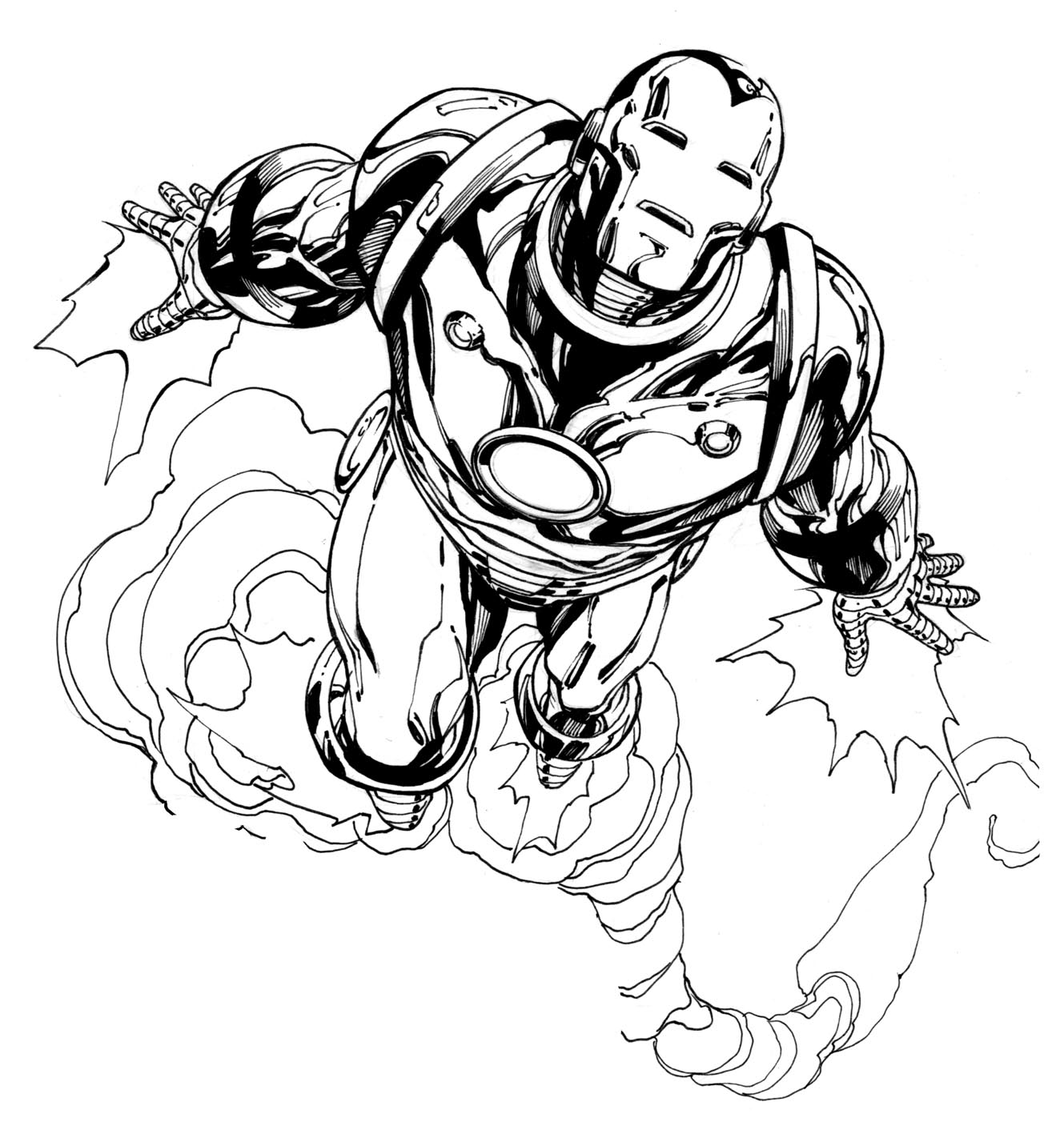 Simple Iron Man coloring page to download for free