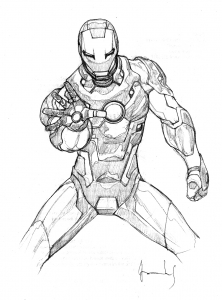 Coloring page iron man for kids