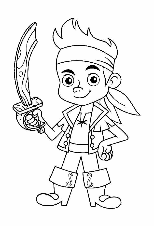 Free Jake and the pirates coloring page to print and color