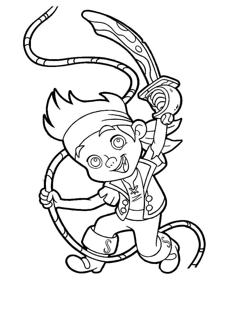 Easy free Jake and the pirates coloring page to download