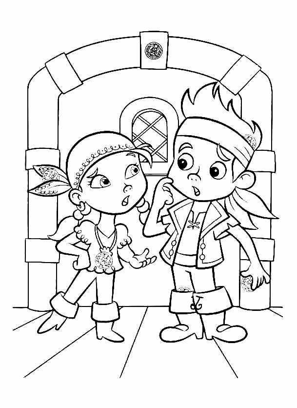 Simple Jake and the pirates coloring page to print and color for free