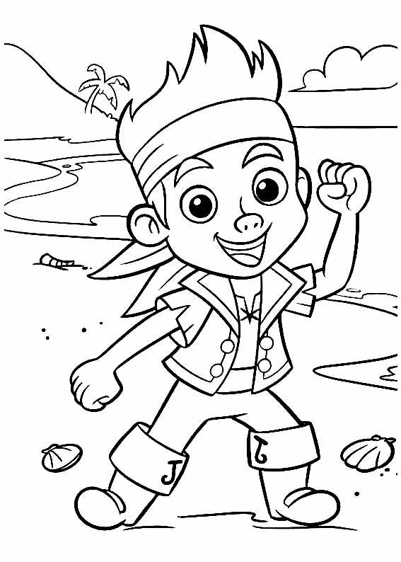 Funny Jake and the pirates coloring page for kids