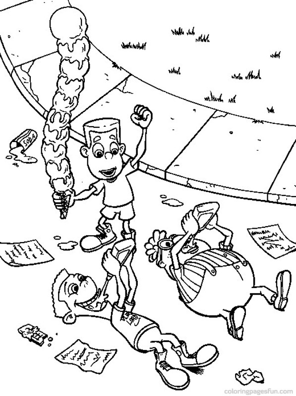 Simple Jimmy Neutron coloring page for kids
