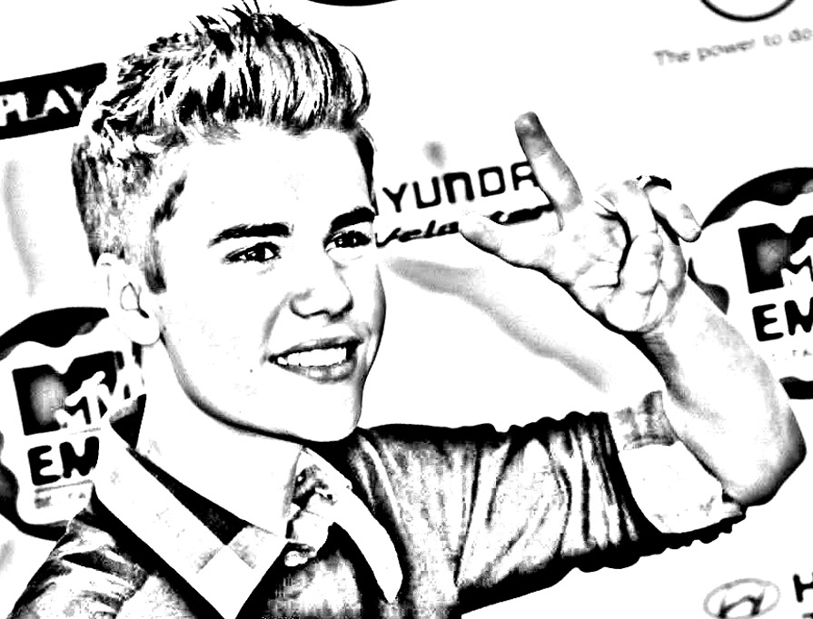 Simple Justin Bieber coloring page to print and color for free
