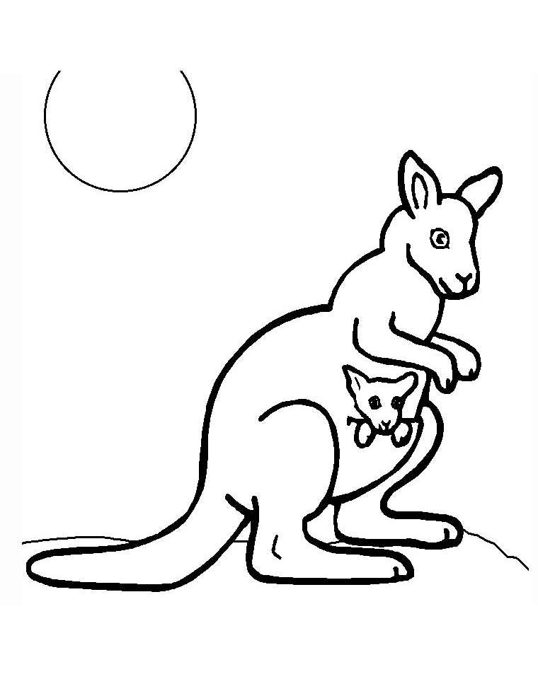 Funny Kangaroos coloring page for children