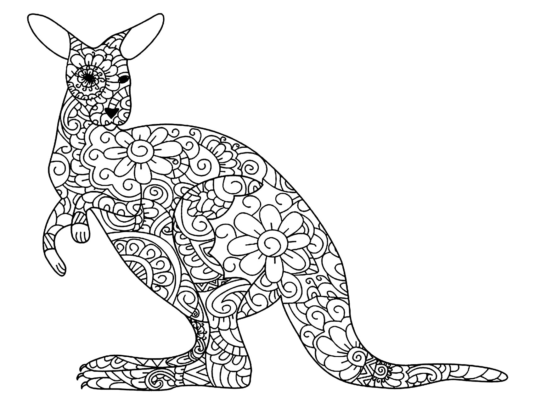 Printable Kangaroos coloring page to print and color