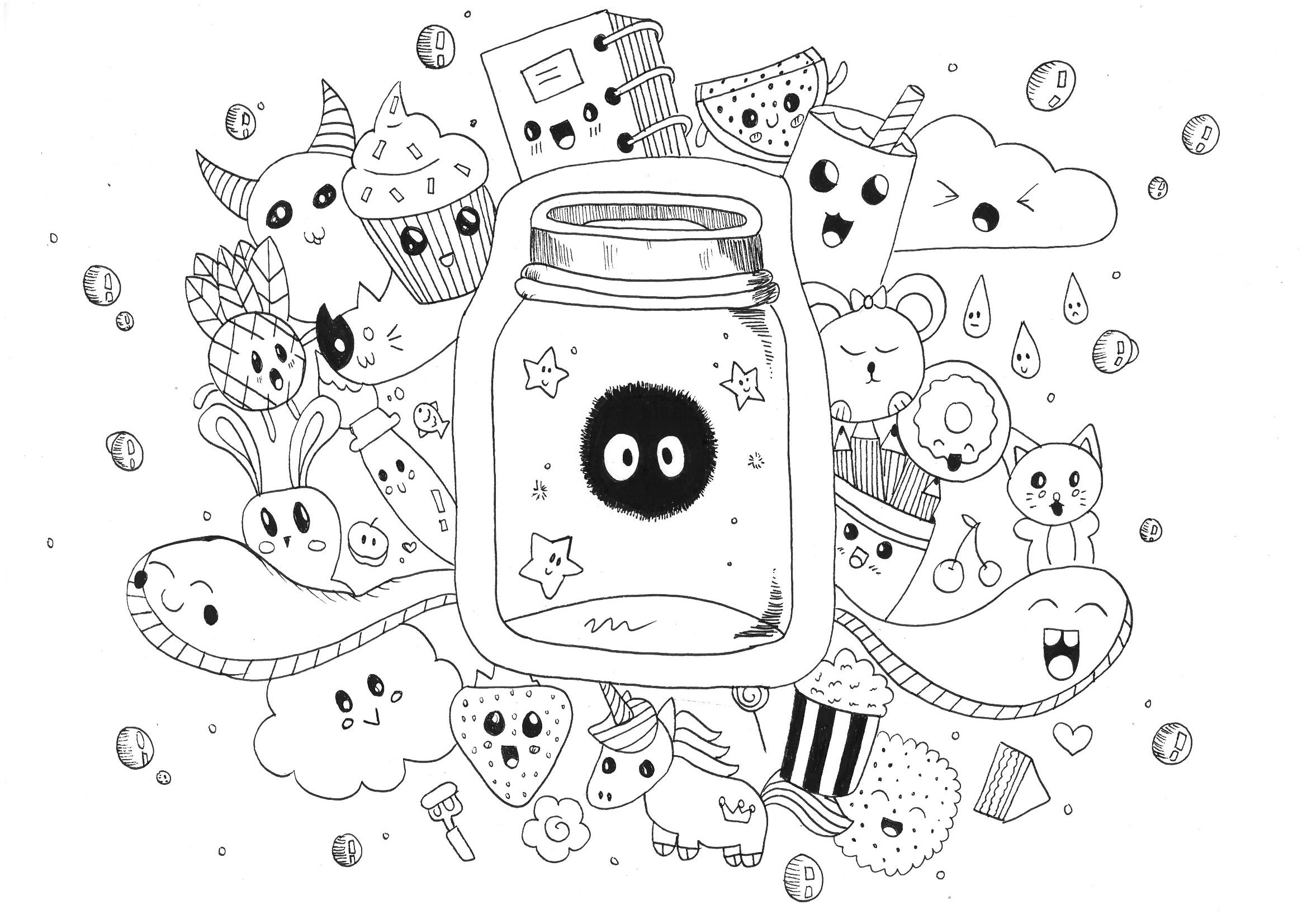 Kawaii free to color for children - Kawaii Kids Coloring Pages