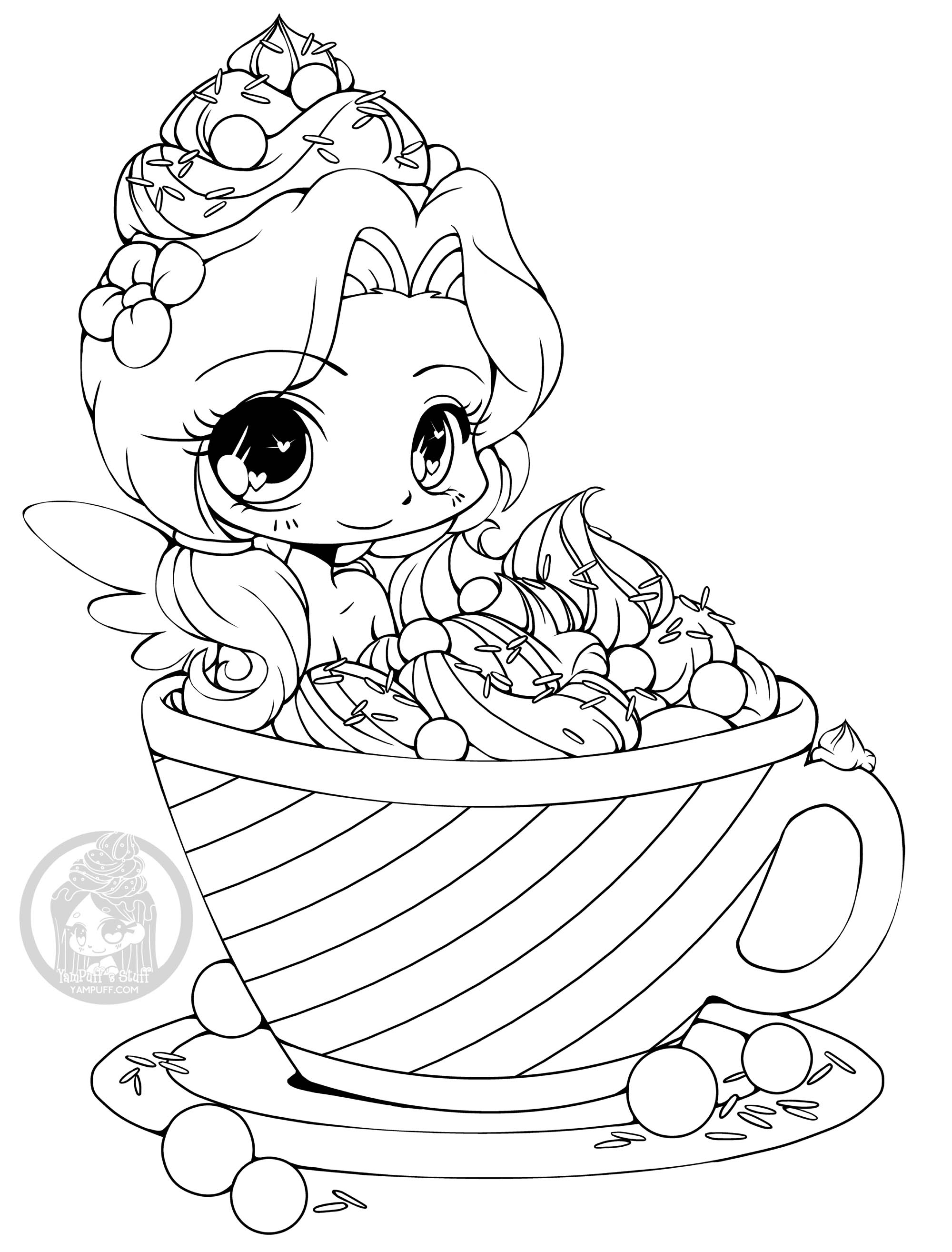 Kawaii To Color For Children Kawaii Kids Coloring Pages