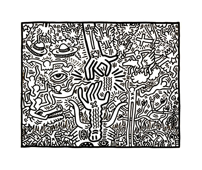 Keith Haring coloring page with few details for kids
