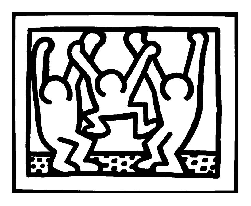 Simple Keith Haring coloring page to print and color for free