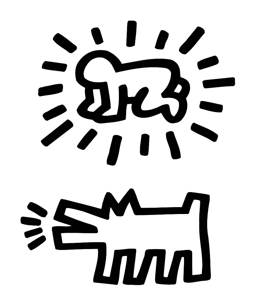 Free Keith Haring coloring page to download, for children