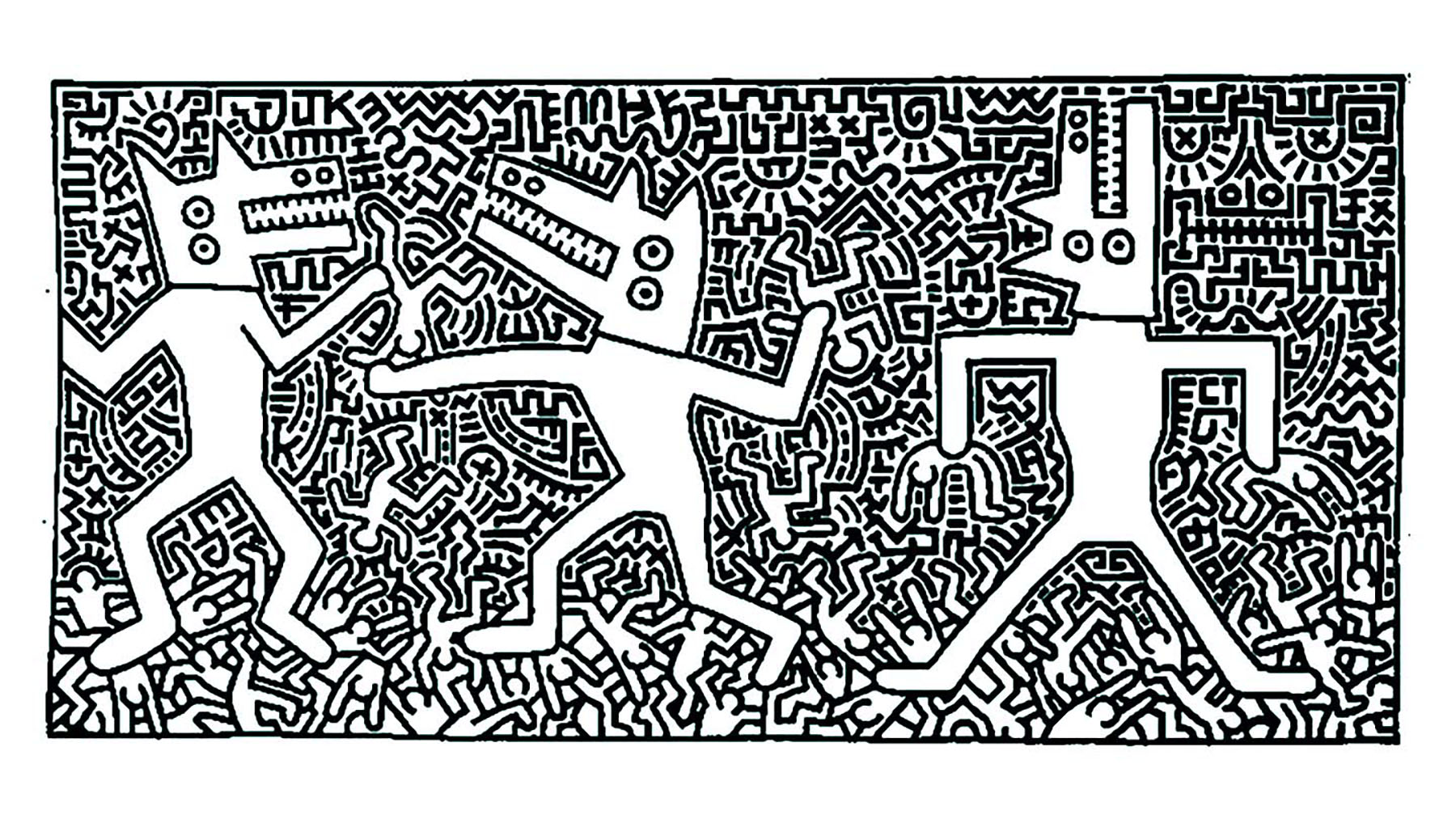 Keith Haring coloring page to print and color