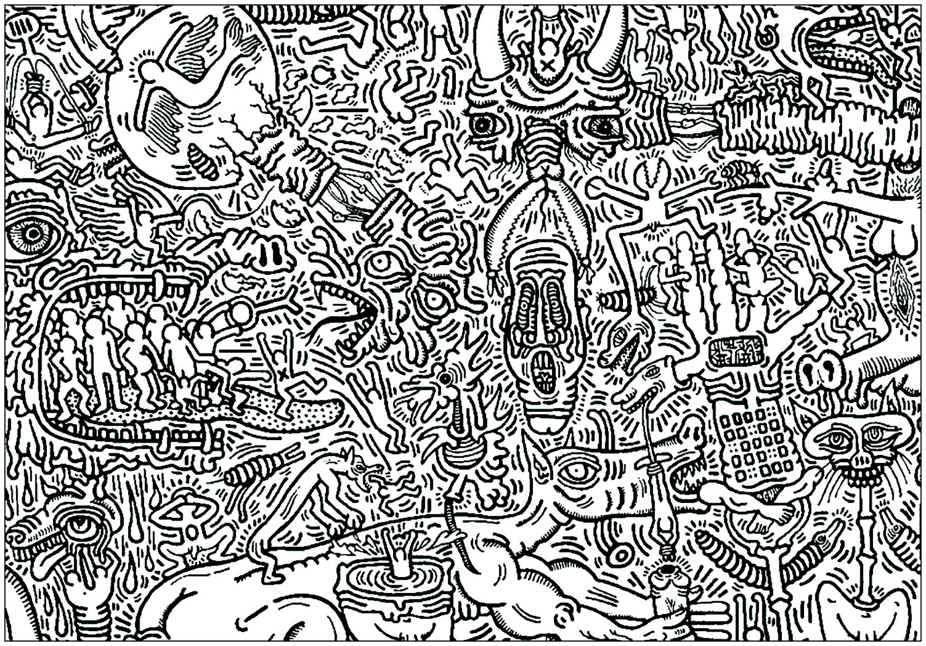 Simple Keith Haring coloring page for kids