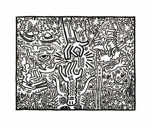 Coloring page keith haring for kids