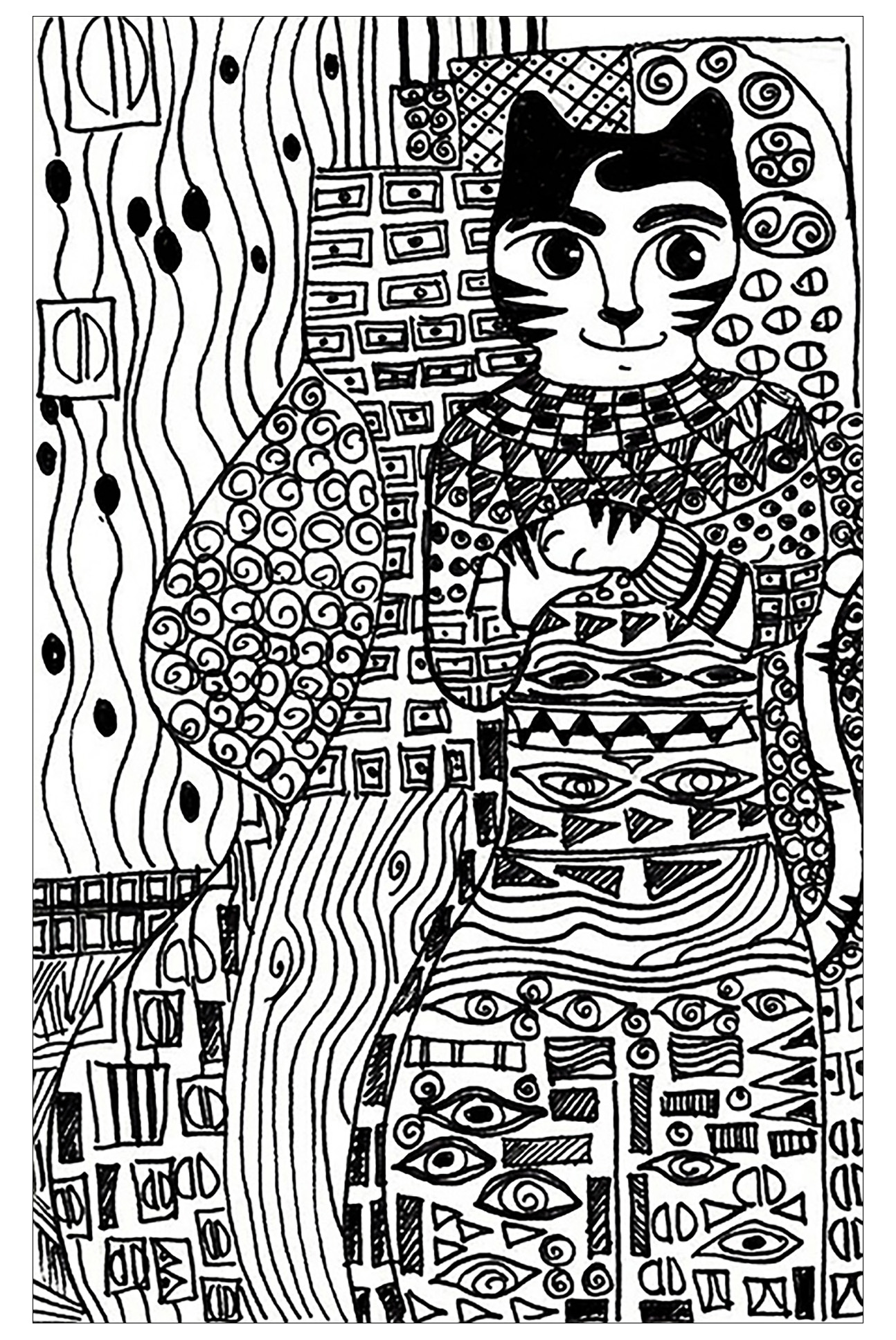 Klimt Coloring Page To Print And Color For Free
