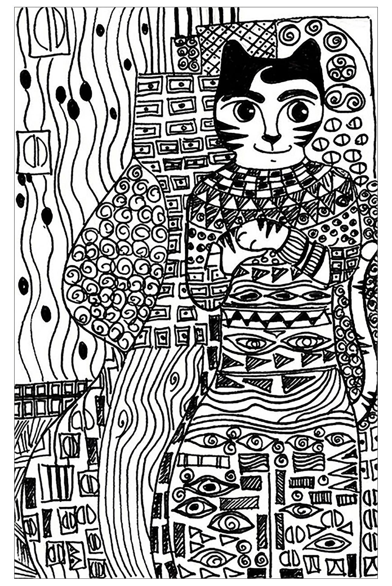 Klimt free to color for children Gustav Klimt Kids Coloring Pages