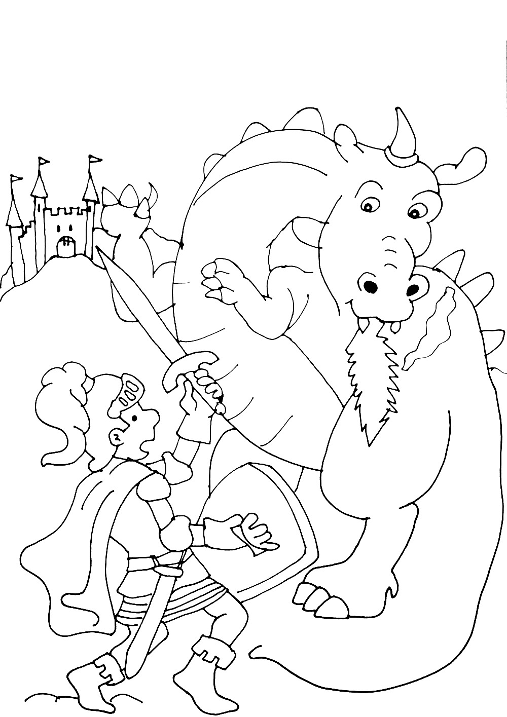 Knights And Dragons coloring page to print and color