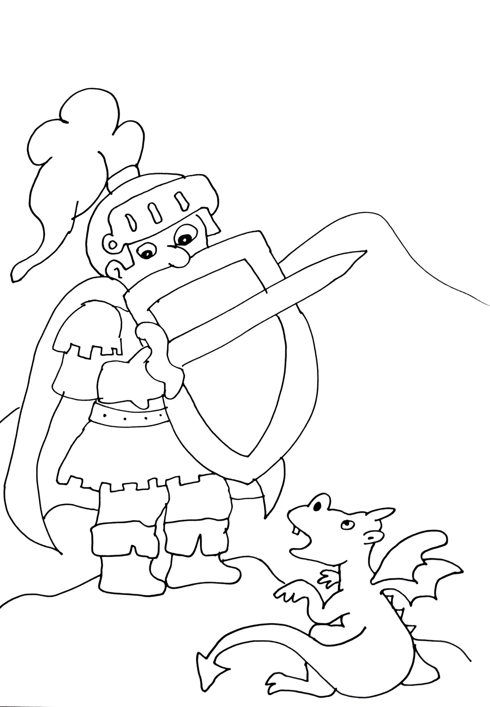 Funny Knights And Dragons Coloring Page For Kids