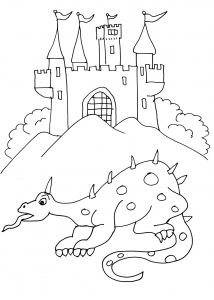 Coloring page knights and dragons to download
