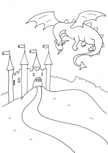 Coloring page knights and dragons for kids