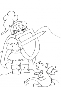 Coloring page knights and dragons free to color for kids