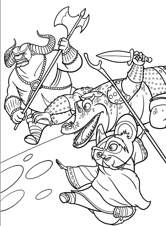 Funny free Kung Fu Panda coloring page to print and color