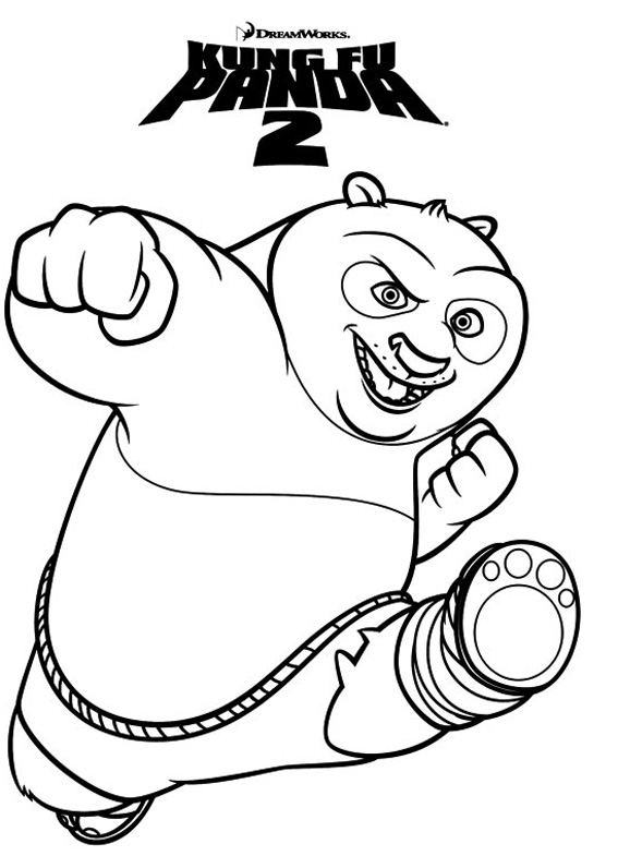 Simple free Kung Fu Panda coloring page to print and color