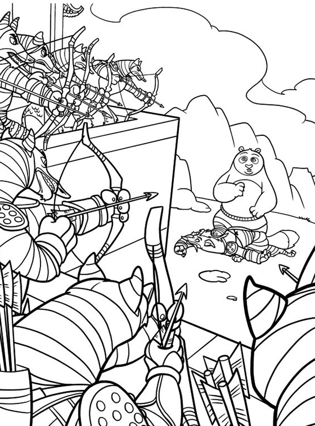 Incredible Kung Fu Panda coloring page to print and color for free