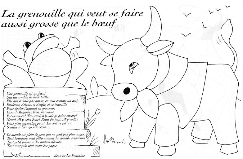 Free La Fontaines Fables coloring page to print and color, for kids