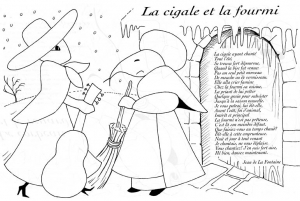 Coloring page la fontaines fables to color for kids