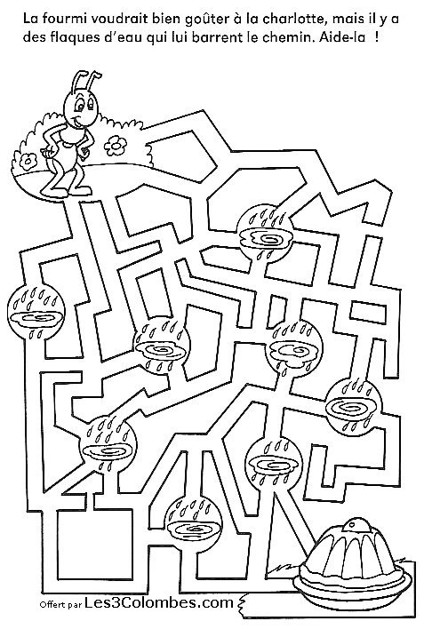 Labyrinths coloring page to download for free : little ant