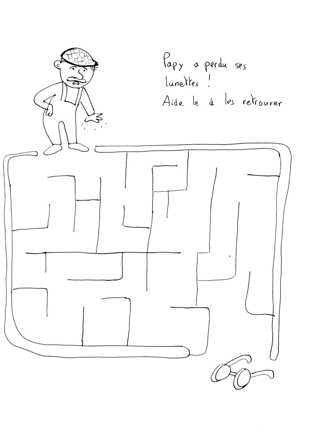 Simple Labyrinths coloring page to download for free : Help this man finding his glasses