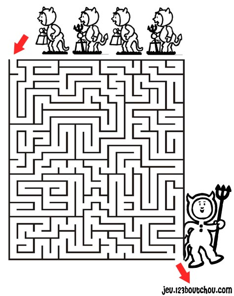 Beautiful Labyrinths coloring page to print and color : Little devils
