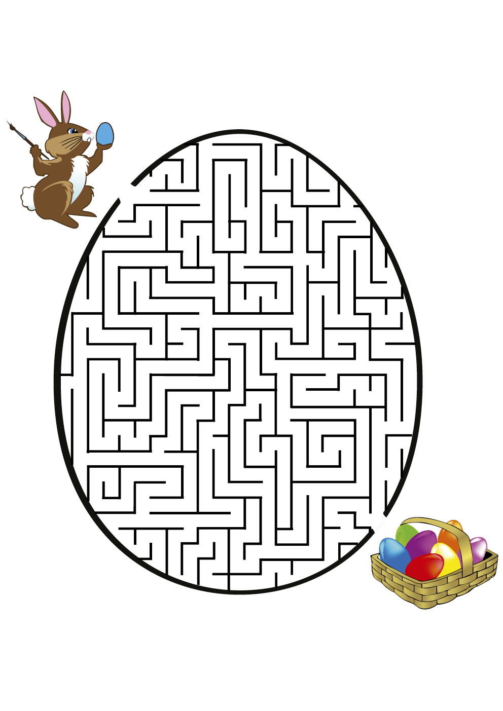 Simple Labyrinths coloring page to print and color for free : Rabbit