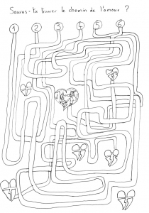 Coloring page labyrinths free to color for children : Hearts