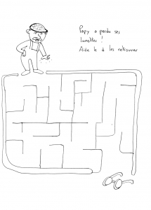 Coloring page labyrinths to download : Man & glasses