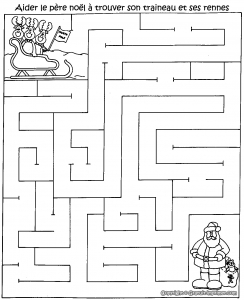 Coloring page labyrinths to download : Santa Claus
