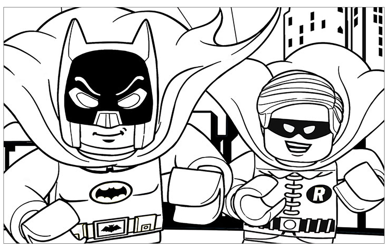 Simple Lego Batman Coloring Page To Download For Free