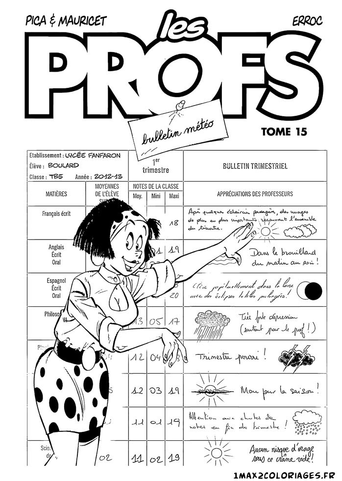 Printable Les Profs coloring page to print and color for free