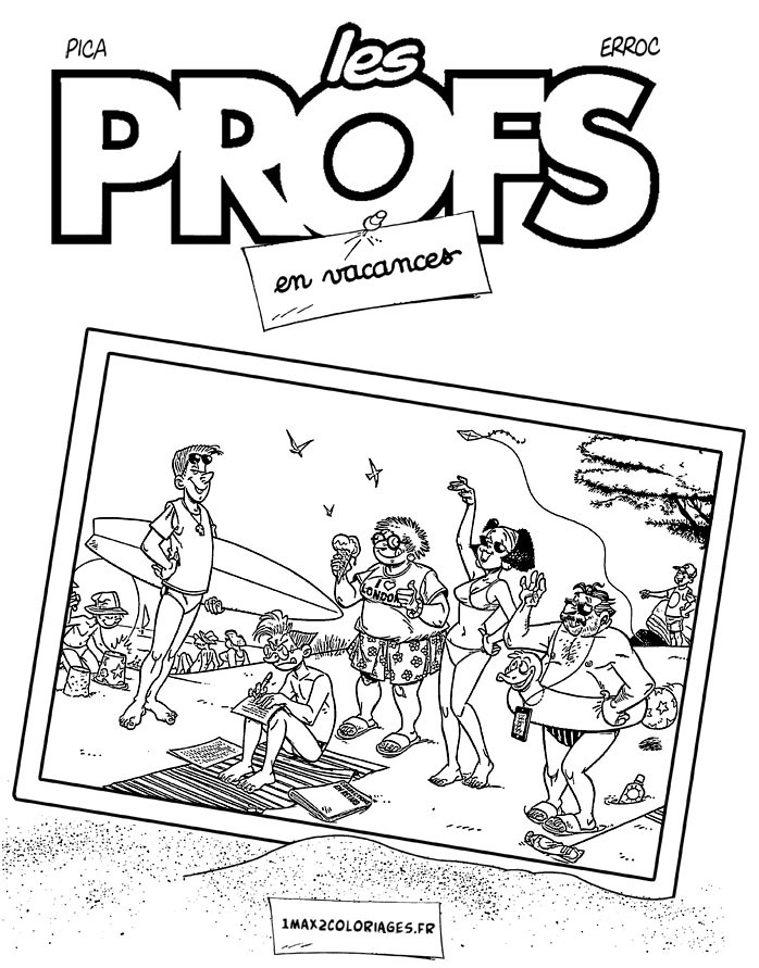 Free Les Profs coloring page to print and color