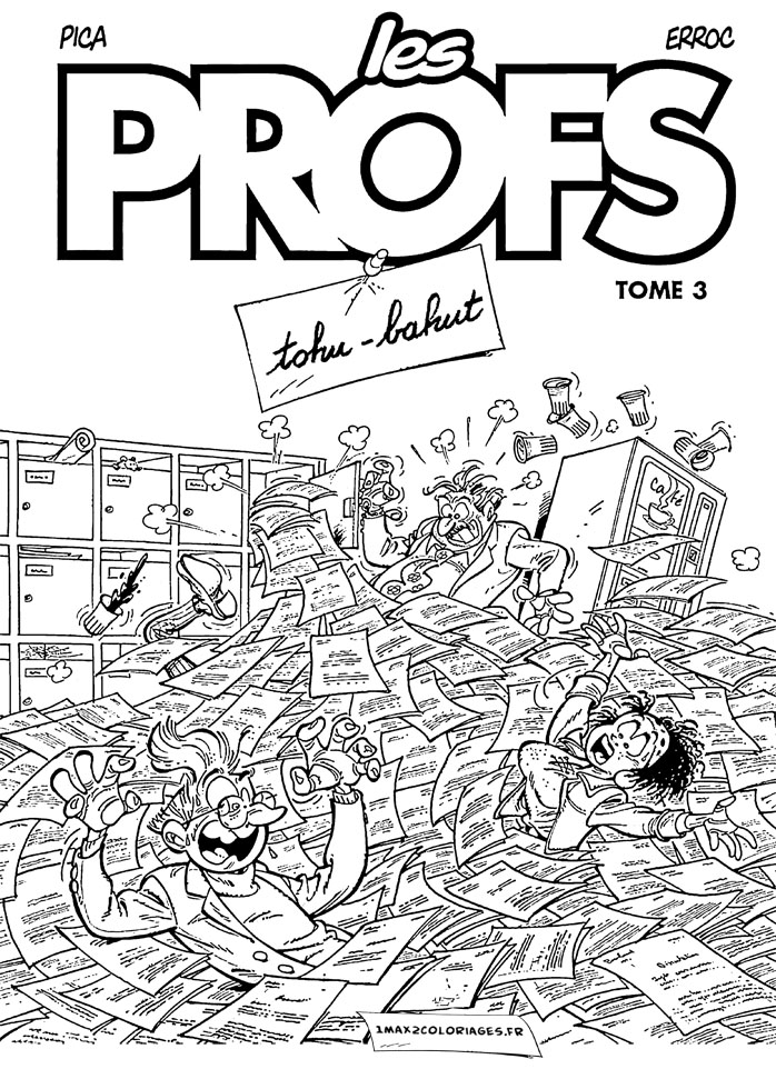 Les Profs coloring page to print and color